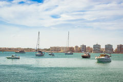 Puerto deportivo Marina Salinas. Yachts and boats in Marina of T Royalty Free Stock Photo