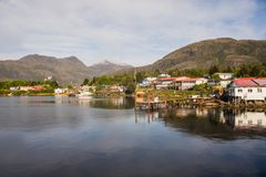 Detail of the village of Puerto Eden in south of Chile stock image