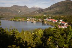 Puerto Eden in Chilean fiords, Patagonia. Detail of the village of Puerto Eden in south of Chile, Pacific Ocean stock photography