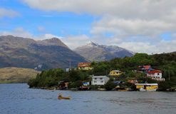 The Puerto Eden in Wellington Islands, fiords of southern Chile. Province Ultima Esparanza stock image