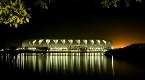 Puerto Elizabeth Soccer Stadium en la noche Imagenes de archivo