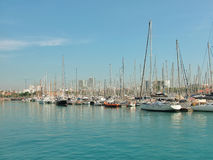 Puerto en Barcelona Imágenes de archivo libres de regalías