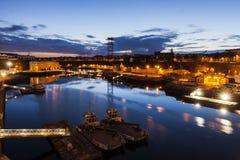 Puerto en Brest en la noche Foto de archivo libre de regalías
