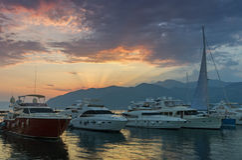 Puerto en la ciudad de Tivat, Montenegro Imagenes de archivo