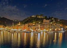 Puerto en la noche, Italia de Portofino Fotos de archivo libres de regalías