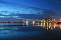 Puerto en la oscuridad Foto de archivo libre de regalías
