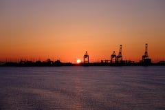 Puerto en la puesta del sol Imágenes de archivo libres de regalías
