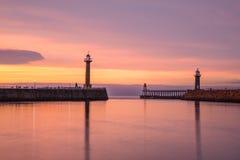 Puerto en la puesta del sol Imagen de archivo libre de regalías