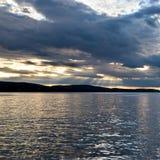 Puerto en la puesta del sol, Maine de la barra fotos de archivo libres de regalías