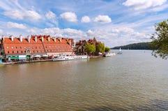 Puerto en Mikolajki, distrito de los lagos Masurian Imagen de archivo libre de regalías