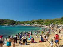 Puerto Escondido, Oaxaca, Mexico, Zuid-Amerika: [Playa Carrizalillo, crowdwed natuurlijk strand, toeristenbestemming] royalty-vrije stock foto's