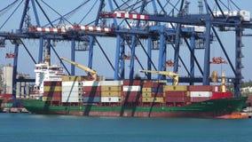 PUERTO FRANCO, BAHAMAS MAYO DE 2016 Buque de carga Vega Omega que es cargada con los envases en el puerto franco 4K almacen de metraje de vídeo