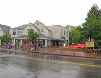 Puerto franco Maine de la tienda principal de LL Bean en lluvia Imagen de archivo libre de regalías