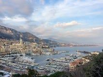Puerto Hercule y La Condamine en Mónaco Imagen de archivo