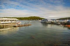 Puerto histórico de la barra en Maine, los E.E.U.U. Fotos de archivo