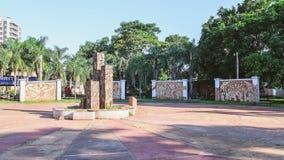 Square called Paseo de la Identidad with artistic murals that te. Puerto Iguazu, Argentina - January 07, 2018: Square called Paseo de la Identidad with artistic Royalty Free Stock Photos