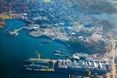 Puerto industrial de Victoria Harbour de la visión aérea fotografía de archivo