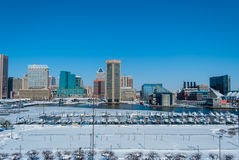 Puerto interno, Baltimore: Snowpocalypse Foto de archivo libre de regalías