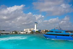 Puerto Juarez in Cancun at Riviera Maya. Of Mexico port control tower Stock Images