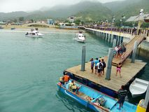 The pier at Poerto Lopez, Ecuador stock image