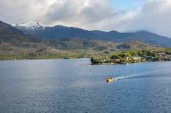 Puerto l'Eden, fiordi d'attraversamento nel Cile del sud Fotografie Stock Libere da Diritti