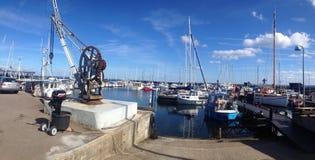 Puerto local en Dinamarca Foto de archivo libre de regalías