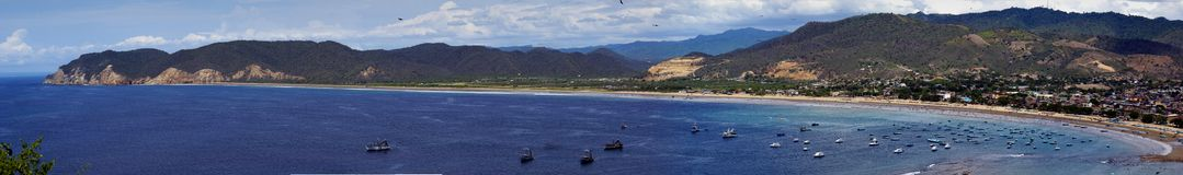 Puerto Lopez bay. Wide angle view of Puerto Lopez fishing village and bay, Ecuador Royalty Free Stock Images