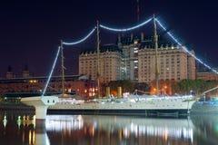 布宜诺斯艾利斯, Puerto Madero在晚上 免版税库存照片