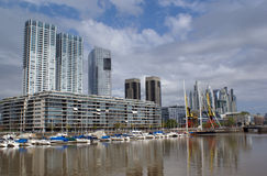 Puerto Madero, Buenos Aires,Argentina. Panoramic view of downtown Buenos Aires with Marina and buildings Royalty Free Stock Photos
