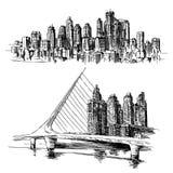 Puerto Madero Buenos Aires argentinare royaltyfri illustrationer
