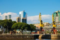 Puerto Madero Detail Waterfront  Cityspace. Buenos Aires Port Business Sky royalty free stock photo