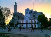 Puerto Madero på skymning royaltyfria bilder