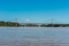 Puerto Maldonado bridge in the peruvian Amazon jungle at Madre d stock images