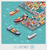 Puerto marítimo comercial isométrico Fotografía de archivo libre de regalías