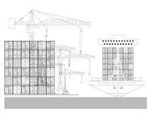 Puerto marítimo, portacontenedores, grúa a gran altitud con un envase ilustración del vector