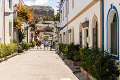 Puerto Mogan Shopping område Gran Canaria royaltyfria foton