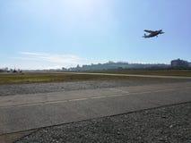 Puerto Montt Aerodrome, plane taking off. Aerodrome, plane taking off stock image