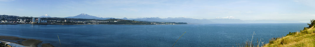 Puerto Montt, Chile. Panoramica of coastline overlooking the city of Puerto Montt, Chile Royalty Free Stock Photography