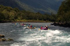 Puerto Montt, Chile. White water Rafting on the Petrohué River Royalty Free Stock Photos