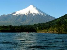 Puerto Montt, Chile. White water Rafting on the Petrohué River royalty free stock image