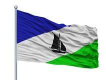 Puerto Montt City Flag On Flagpole, Chile, Isolated On White Background Vector Illustration