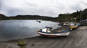 Puerto Montt. Fishing boats moored in Angelmo, tourist area and restaurant specialists in cooking fish Stock Photography