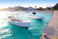 Puerto Morelos beach boats pier Mayan Riviera Royalty Free Stock Photo