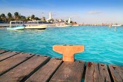 Puerto Morelos beach boats pier Mayan Riviera stock images