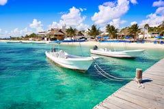 Puerto Morelos beach in Mayan Riviera Royalty Free Stock Photos