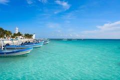 Puerto Morelos beach in Riviera Maya. At Mayan Mexico royalty free stock photography