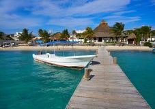Puerto Morelos beach in Riviera Maya. At Mayan Mexico stock images