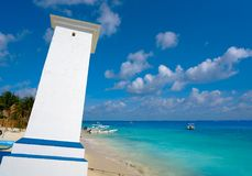 Puerto Morelos bent lighthouse beach in Mexico. Puerto Morelos bent lighthouse beach in Riviera Maya at Mayan Mexico stock image