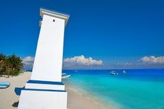 Puerto Morelos bent lighthouse Mexico Stock Photos