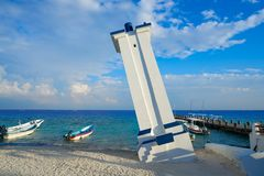 Puerto Morelos bent lighthouse Mexico. Puerto Morelos old bent lighthouse in Mayan Riviera Maya of Mexico Stock Images